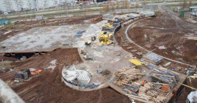 Состояние строительства Соборной мечети на ноябрь 2017 года